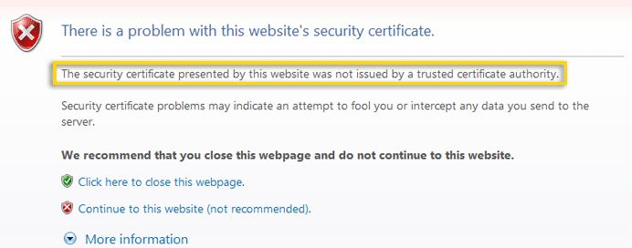 Browser warning for self-signed certificates